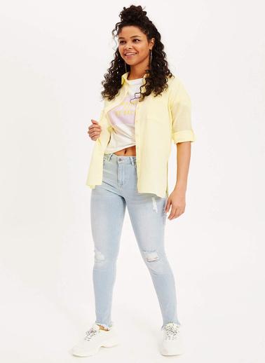 DeFacto Uzun Kollu Gömlek Tunik Sarı
